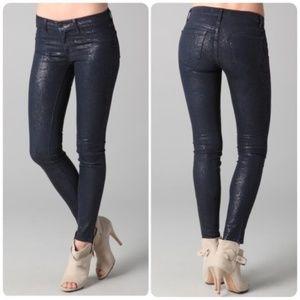 J Brand Indigo Boa Snakeskin Coated Slim Jeans 31